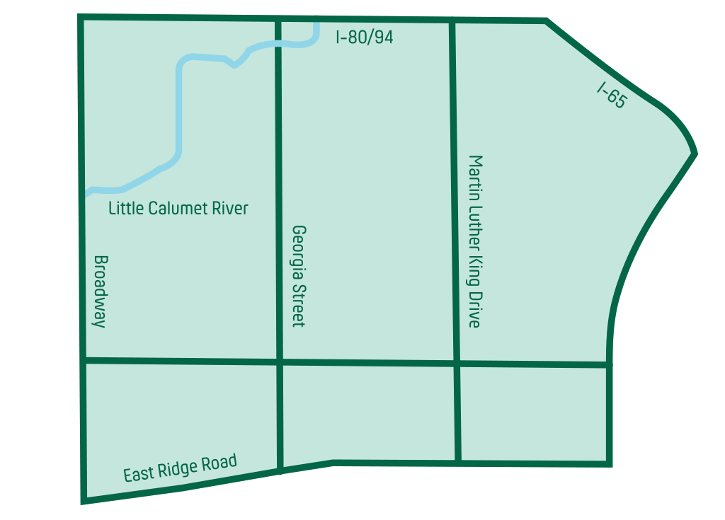 map of University Park East - Gary, IN
